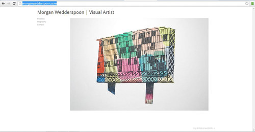 A front page screen capture of Morgan Wedderspoon's art website