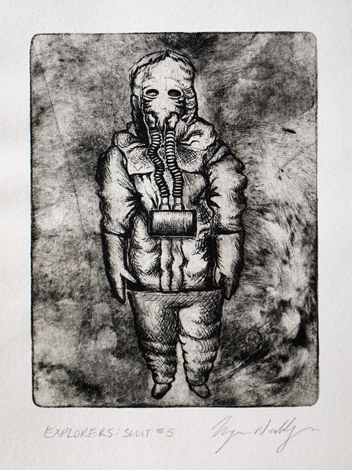 A printed image of a figure wearing a mysterious space suit