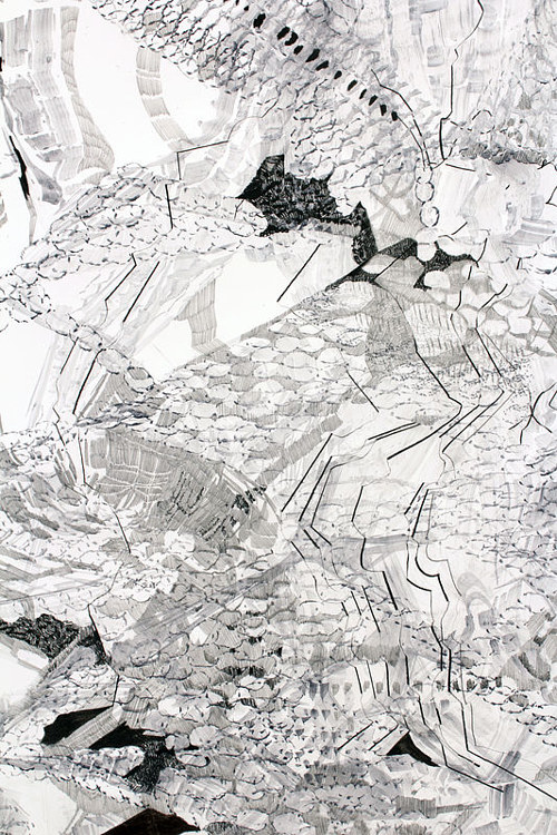 An abstract drawing with layered lines and shapes in black and white