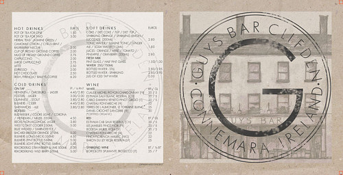 A graphic design for a restaurant menu