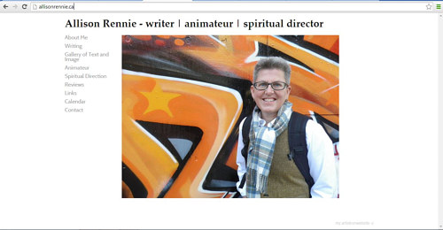 A front page screen capture of Allison Rennie's website