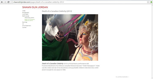 A still image of a performance on Shawn Olin Jordan's website