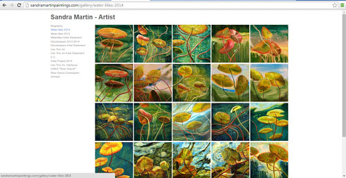 A screen capture of a gallery of recent paintings on Sandra Martin's webpage