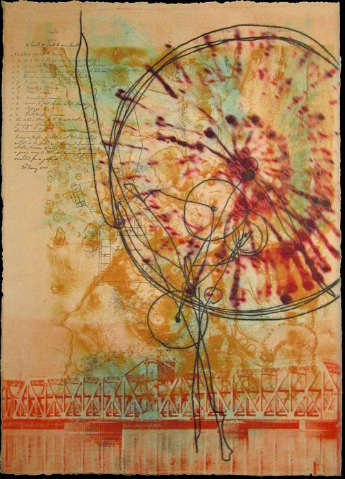 An abstract lithograph print with stringy circles and orange tones