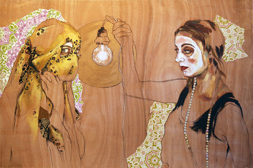 A painting of two costumed woman on an un-primed wood panel