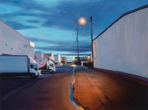 A painting of a parking lot in an industrial area