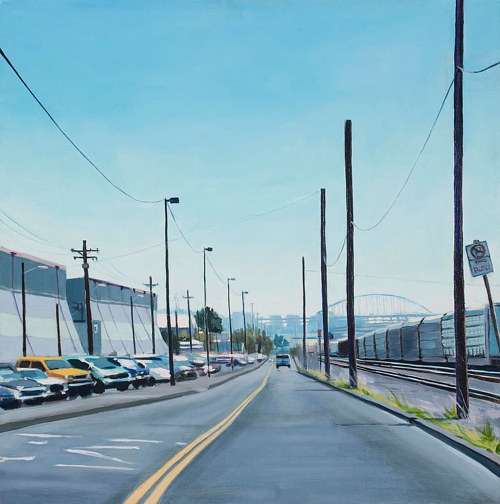 An oil painting of a deserted street in an urban area