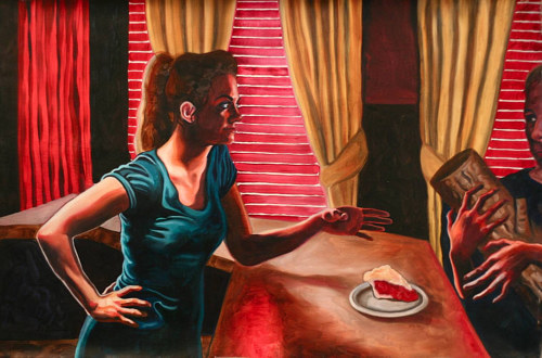 A painting of a woman in a cafe with references to scenes and characters from Twin Peaks