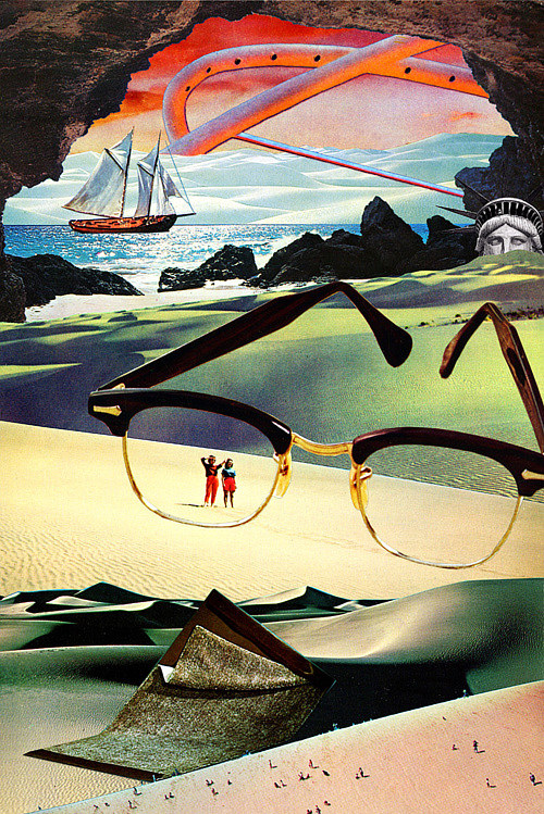 A collaged image of a huge pair of Ray-Bans on a distant beach