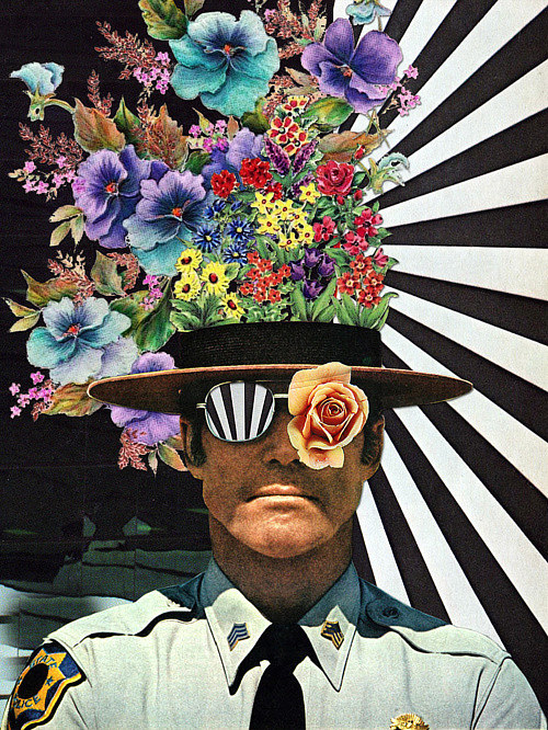A collaged image of a sheriff with flowers coming out of his head