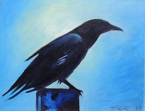 Painting of a crow on a light blue background