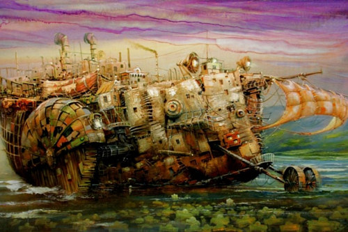 A painting of a strange and complicated imaginary ship