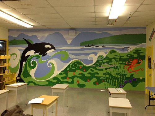 Mural painting of an Orca in a classroom