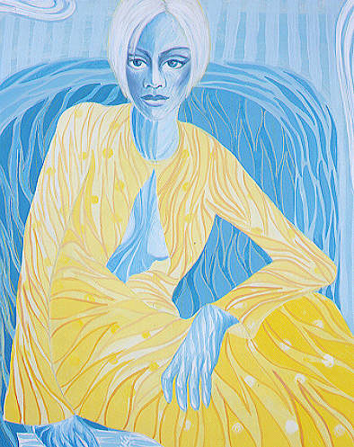 A contour-line painting of a woman with blue skin in a yellow dress