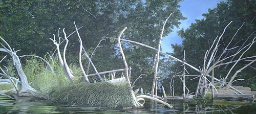 A painting of gnarled white branches sticking out of the water at the edge of a lake
