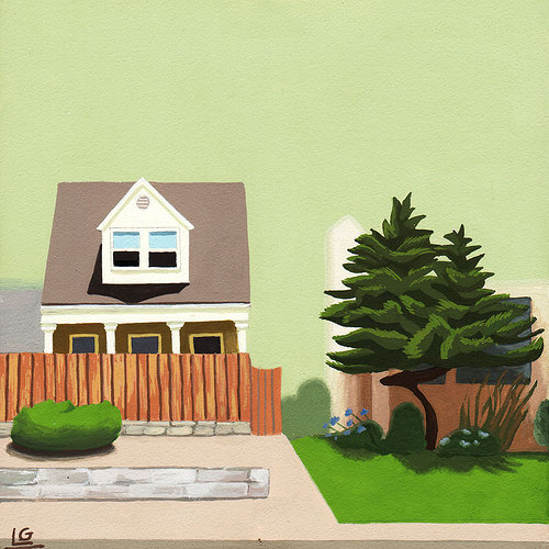 Painting of a house in Los Angeles