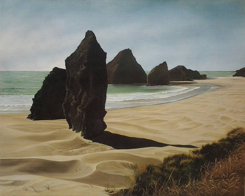 A painting of several monolithic rocks on an Oregon beach