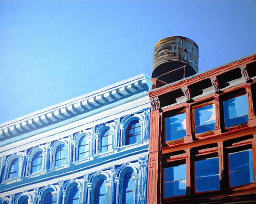 An acrylic painting of a water tower over some buildings in brooklyn