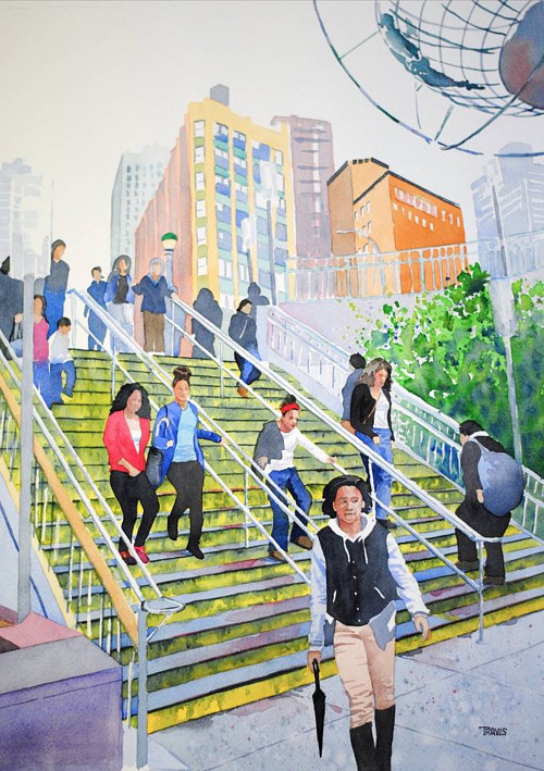 A watercolour painting of people on an urban staircase