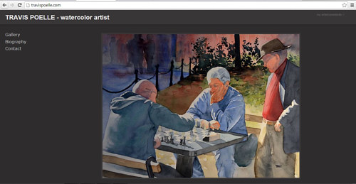 A screen capture of Travis Poelle's art website