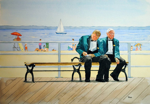 A watercolour painting of two men smoking on a bench at Brighton beach