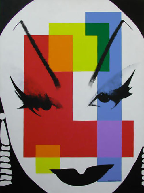 A portrait painting of a drag queen with overlaid squares of colour