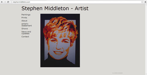 A front page screen capture of Stephen Middleton's website