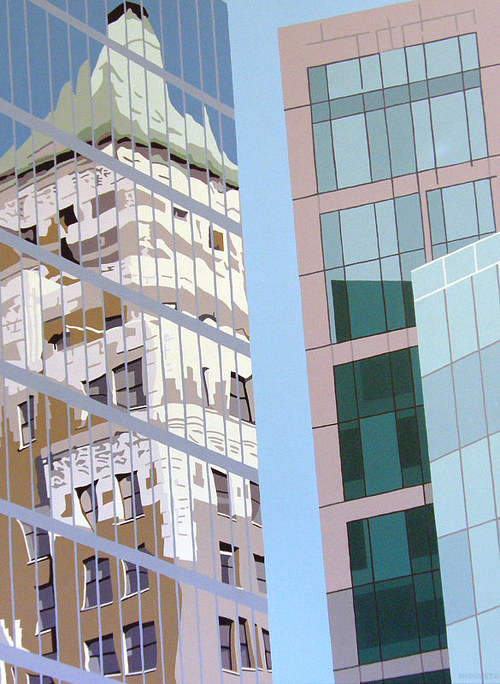 A painting of the reflection of a building in glass skyscraper windows