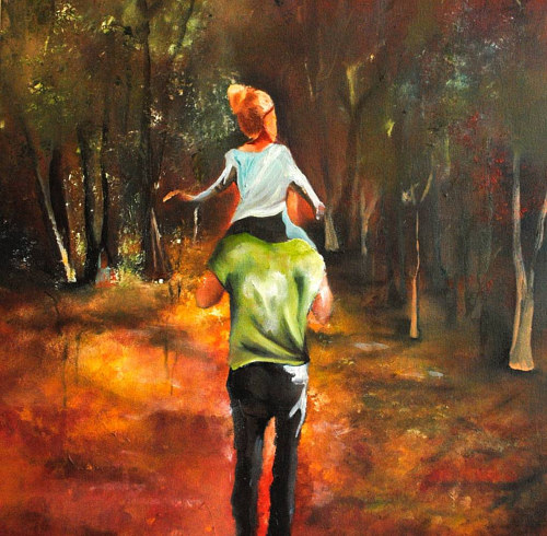 A painting of a young girl sitting on a man's shoulders in a forest