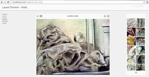 A screen capture of the drawing gallery on Laura Flowers' website