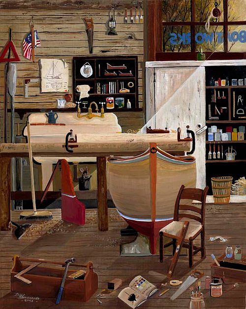 A painting of the interior of a boat repair shop