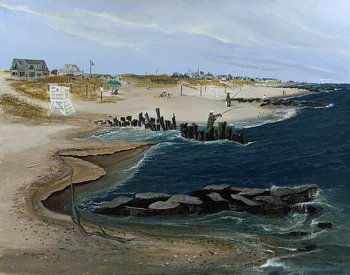 A painting of a beach on the New Jersey coast