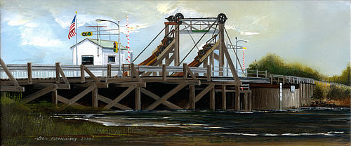 A painting of a wooden drawbridge over a small river