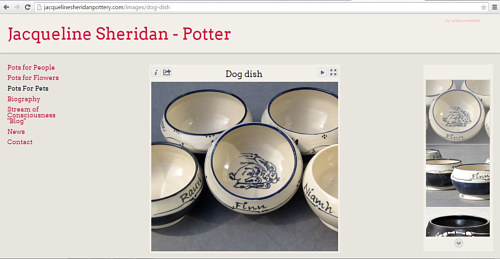 A screen capture of the pots for pets gallery on Jacqueline Sheridan's website