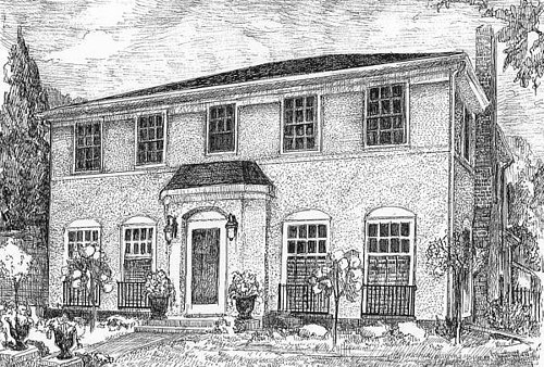 A black and white ink drawing of a large, stately house