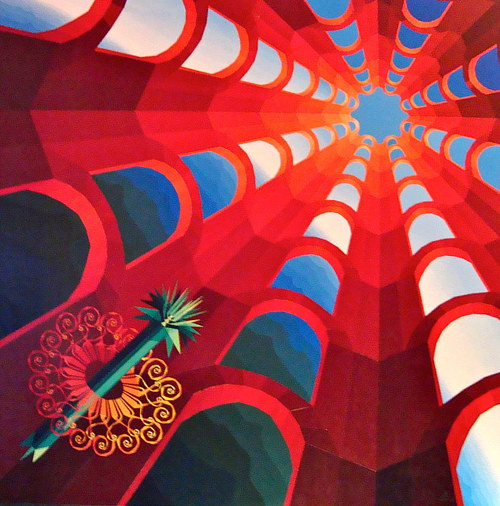 A painting of red architectural lines leading upward to a