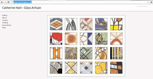 The front page of Catherine Hart's stained glass website