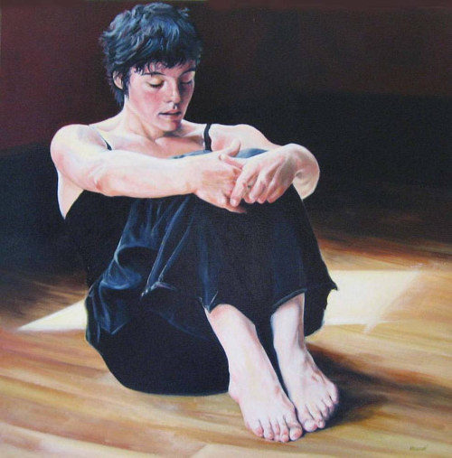 A painting of a young woman sitting on the floor of a dance studio