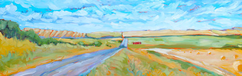 A landscape painting of a prairie under a blue sky