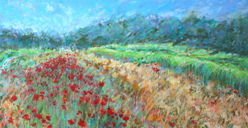 A pastel drawing of poppies in a field
