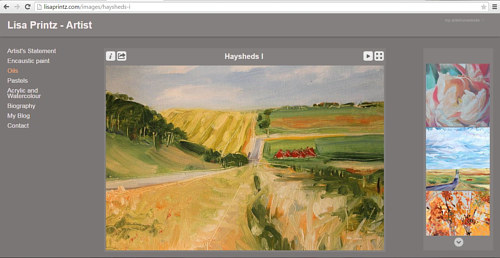 A screen capture of the oil painting gallery on Lisa Printz's website