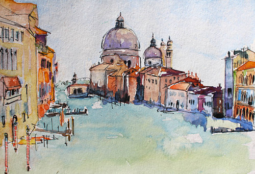 A watercolour and ink drawing of buildings in Venice