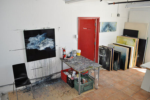 Painting on the wall in Lisa Ochowycz's art studio