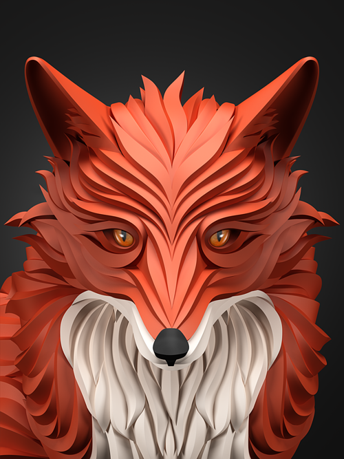 A digitally rendered three dimensional fox