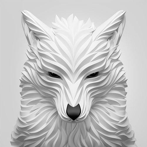 A digitally rendered image of a white wolf