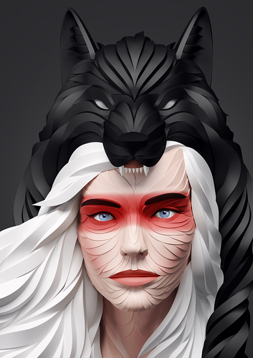A digitally rendered image of a white-haired woman wearing a wolf pelt