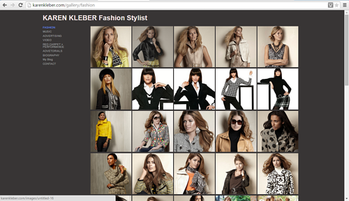 A screen capture of the Fashion gallery on Karen Kleber's website