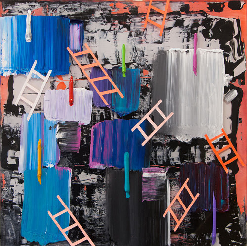 An abstract painting featuring large strokes of colour and ladder shapes