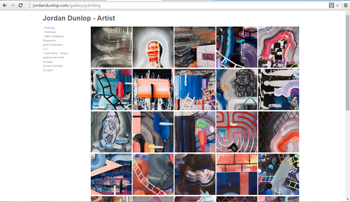 A screen capture of Jordan Dunlop's painting website