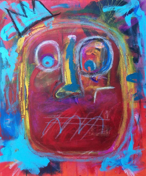 A mixed media painting of an abstracted face wearing a crown